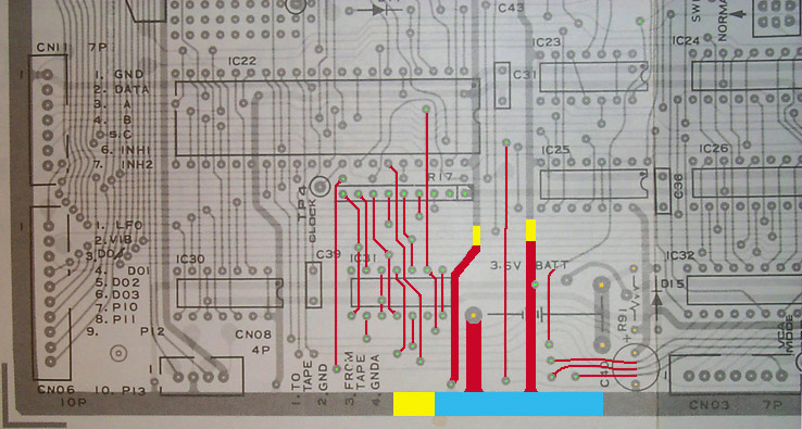 old crow s synth shop battery repair procedure all the traces marked in red indicate the traces that will be removed from the board note that all the red marked tracks are on the top layer